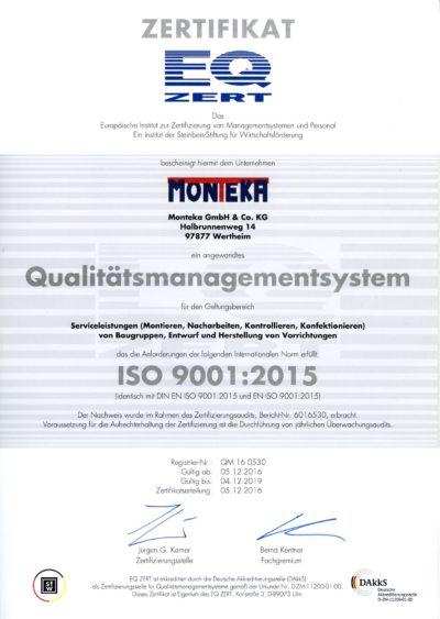 Monteka Zertifikat ISO 9001 2015
